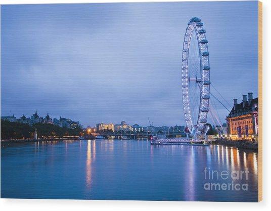 The London Eye Dawn Light Wood Print by Donald Davis