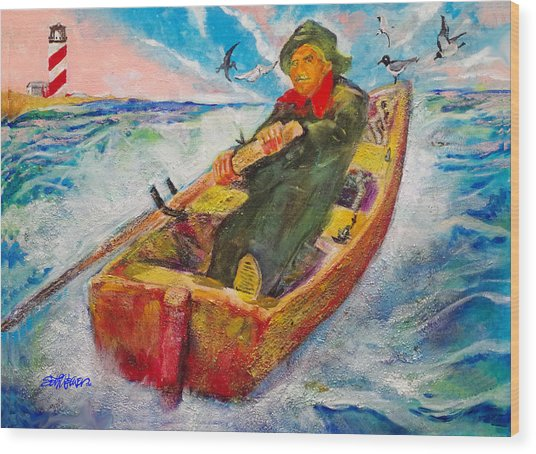 The Lone Boatman Wood Print