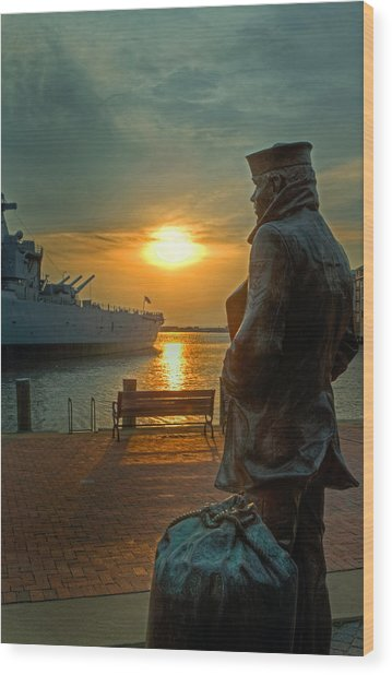 The Lone Sailor Wood Print