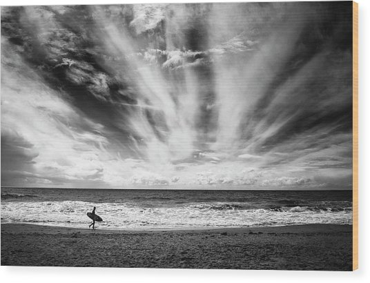 The Loneliness Of A Surfer Wood Print