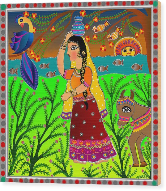The Lonely Radha-madhubani Style-digital Wood Print