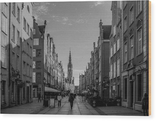 The Long Lane In Gdansk Bw Wood Print by Adam Budziarek