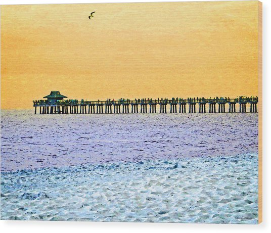 The Long Pier - Art By Sharon Cummings Wood Print