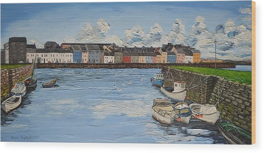 The Long Walk Boats Galway Ireland Wood Print