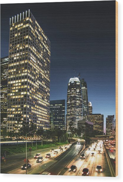 The Los Angeles Downtown Skyline On The Wood Print by Franckreporter