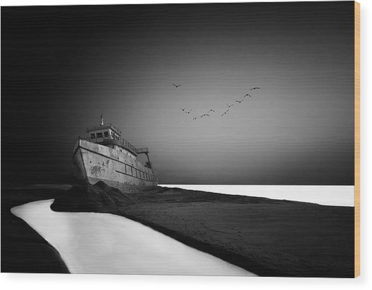 The Lost Ship Wood Print