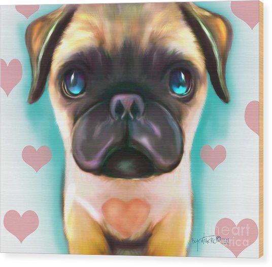 The Love Pug Wood Print