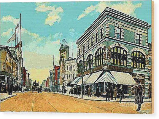 The Lyric Theatre In Jersey City N J Around 1910 Wood Print by Dwight Goss