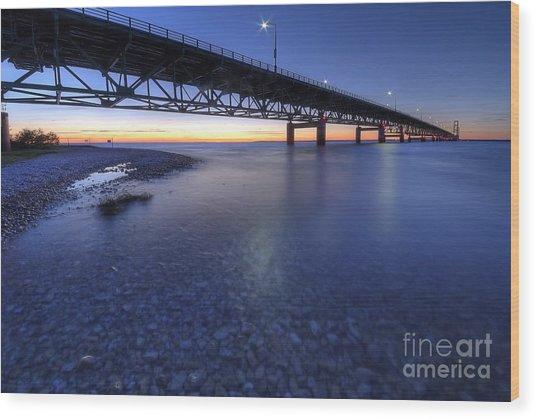 The Mackinac Bridge At Dusk Wood Print by Twenty Two North Photography