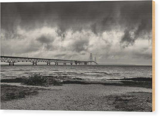 The Mackinac Bridge B W Wood Print