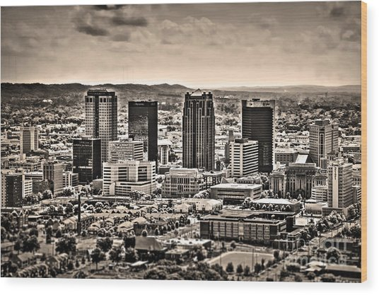 The Magic City Sepia Wood Print