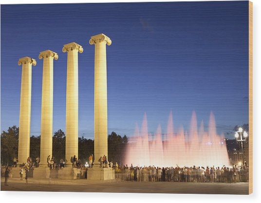 The Magical Fountain In Barcelona Wood Print by Javier Fores