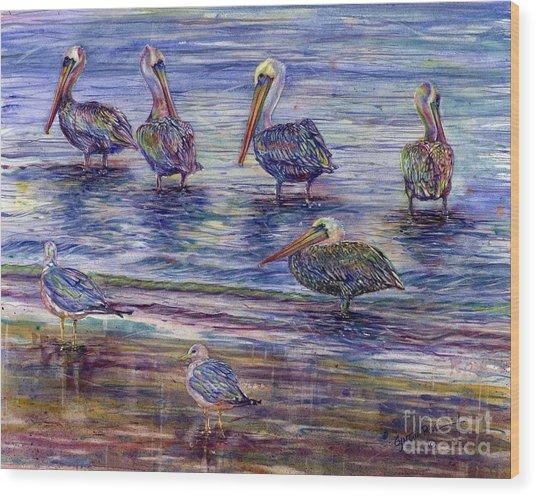 The Majestic Pelican Visit Wood Print