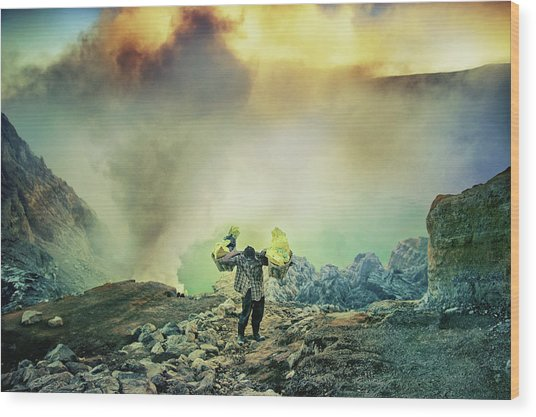 The Man From Green Crater Wood Print by Ismail Raja Sulbar