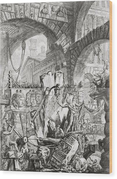 The Man On The Rack Plate II From Carceri D'invenzione Wood Print