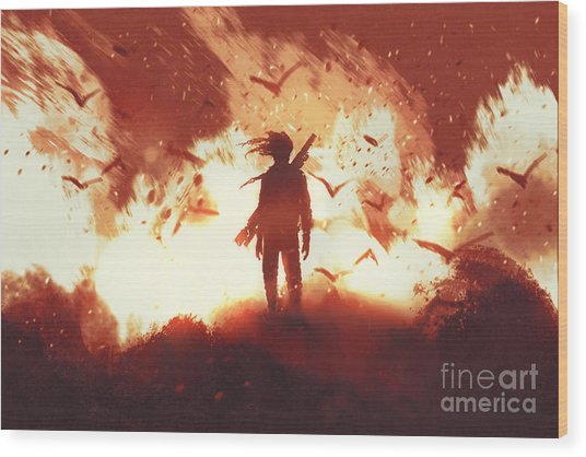 The Man With A Gun Standing Against Wood Print by Tithi Luadthong
