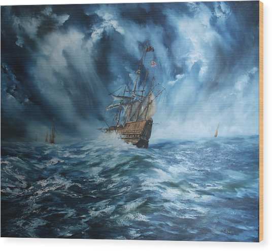 The Mary Rose And Fleet Wood Print