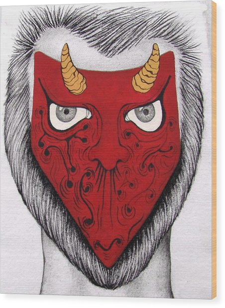 The Mask I See  Wood Print by Benita Solomon