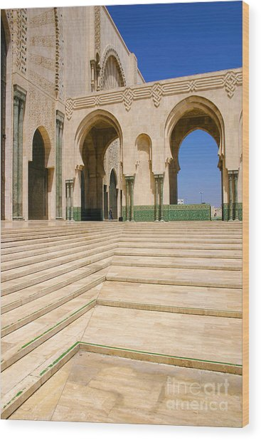 The Massive Colonnades Leading To The Hassan II Mosque Sour Jdid Casablanca Morocco Wood Print by PIXELS  XPOSED Ralph A Ledergerber Photography