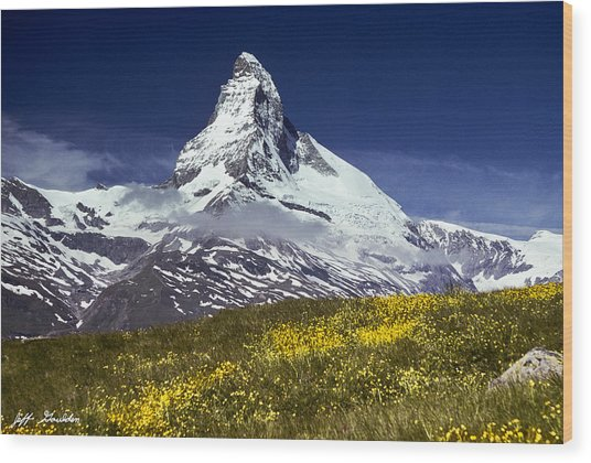 The Matterhorn With Alpine Meadow In Foreground Wood Print
