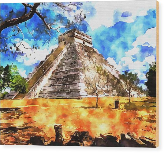 The Mayan Temple Wood Print
