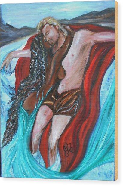 The Mermaid - Love Without Boundaries- Interracial Lovers Series Wood Print