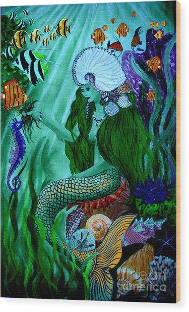 The Mermaid Wood Print by Sylvie Heasman