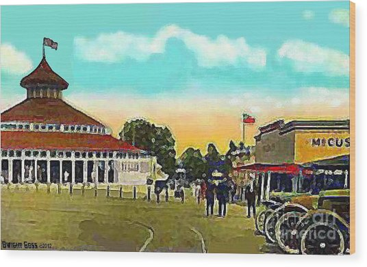 The Merry-go-round At Crescent Park In Providence Ri In 1910 Wood Print