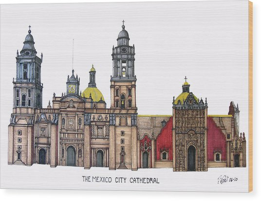 The Mexico City Cathedral Wood Print by Frederic Kohli