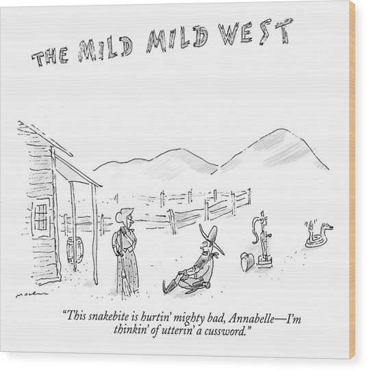 The Mild Mild West. A Cowboy In A Western Setting Wood Print