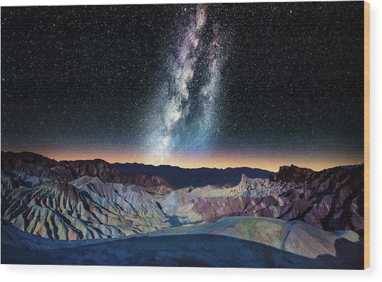The Milky Way Over Zabriskie Point Wood Print by Matt Anderson Photography