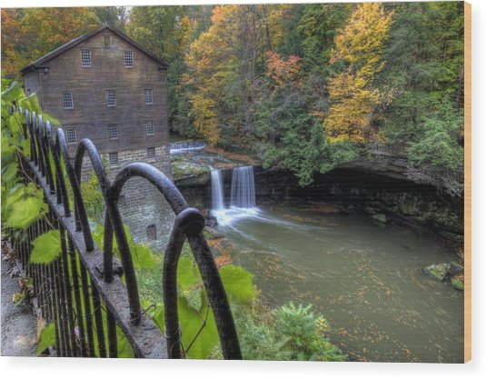 The Mill And Falls At Mill Creek Park Wood Print