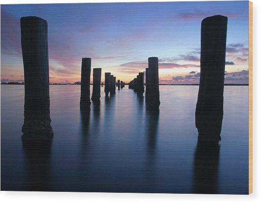 The Missing Pier At Sunset Wood Print