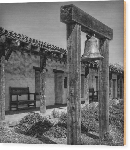 The Mission Bell B/w Wood Print