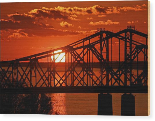 The Mississippi River Bridge At Natchez At Sunset.  Wood Print