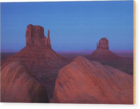 The Mittens At Dusk, Monument Valley Wood Print