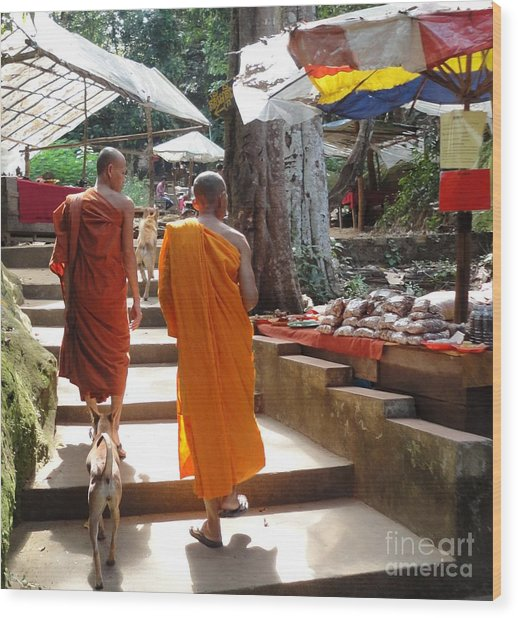 The Monks Have A Rest Wood Print