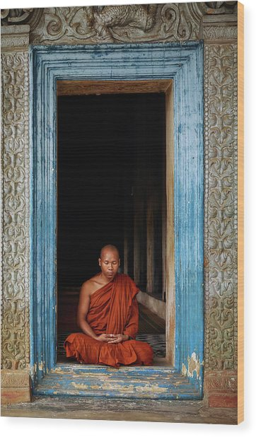 The Monks Of Wat Bo Wood Print