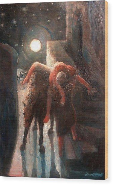 The Moon And The Good Samaritain Wood Print