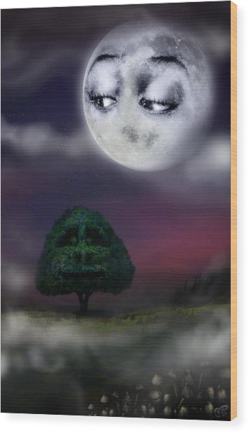 The Moon And The Tree Wood Print