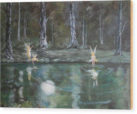 The Moon Fairies Wood Print