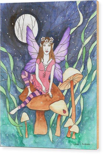 The Moon Fairy Wood Print