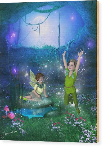 The Moonlight Fairies Wood Print