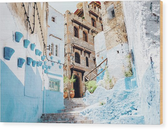 The Moroccan Blue City, Chefchaouen Wood Print by Oscar Wong