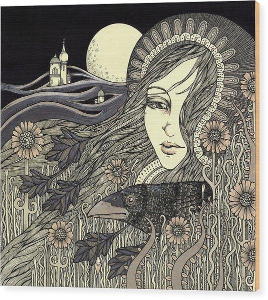 The Morrigan Wood Print by Anita Inverarity
