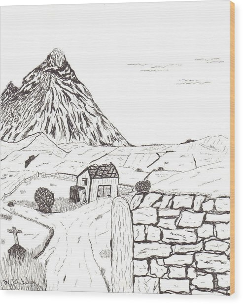 The Mountain Beyond The Fields Wood Print