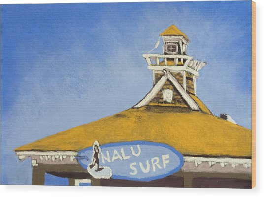 The Nalu Surf Shack Wood Print by Cristel Mol-Dellepoort