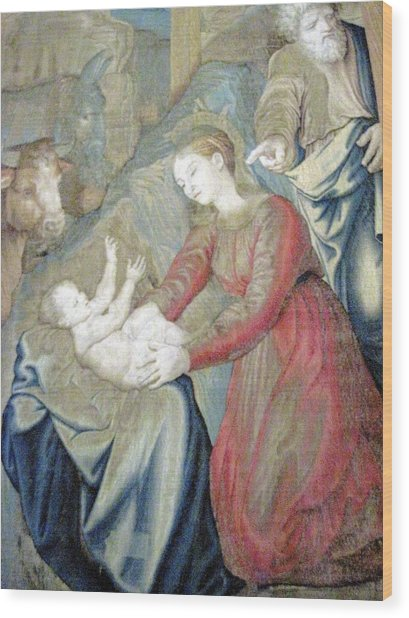 The Nativity Photograph Gallery Of Tapestries Vatican Museum Wood Print