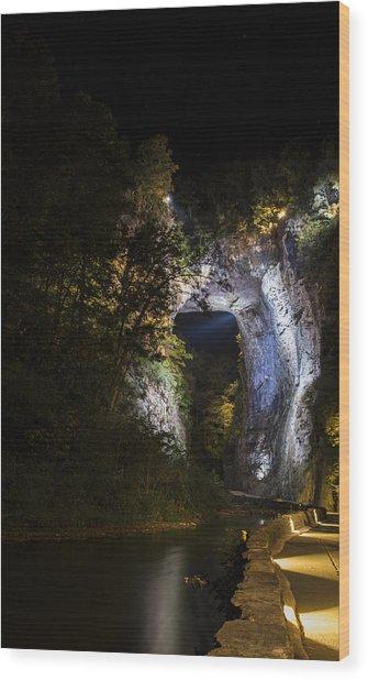 The Natural Bridge At Night  Wood Print