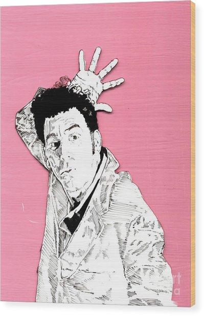 The Neighbor On Pink Wood Print